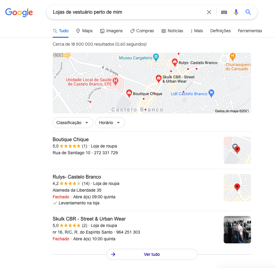 Perfis de Google My Business no Google Local Packs
